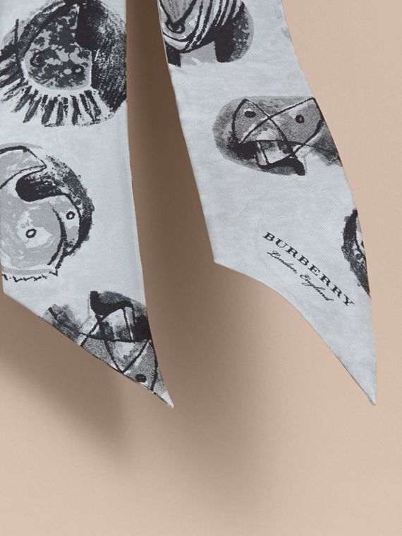 Pallas Heads Print Silk Slim Scarf in Grey - Women | Burberry - cell image 3