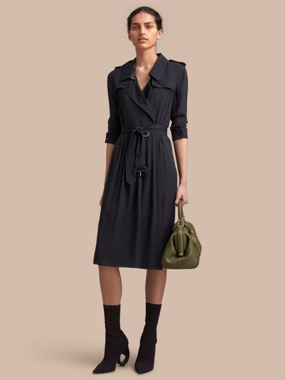 Silk Wrap Trench Dress in Navy - Women | Burberry