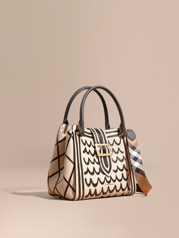The Medium Buckle Tote in Trompe L'oeil Print Leather