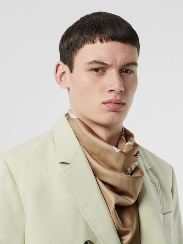 Horseferry Print Silk Square Scarf in Archive Beige | Burberry United Kingdom - cell image 2