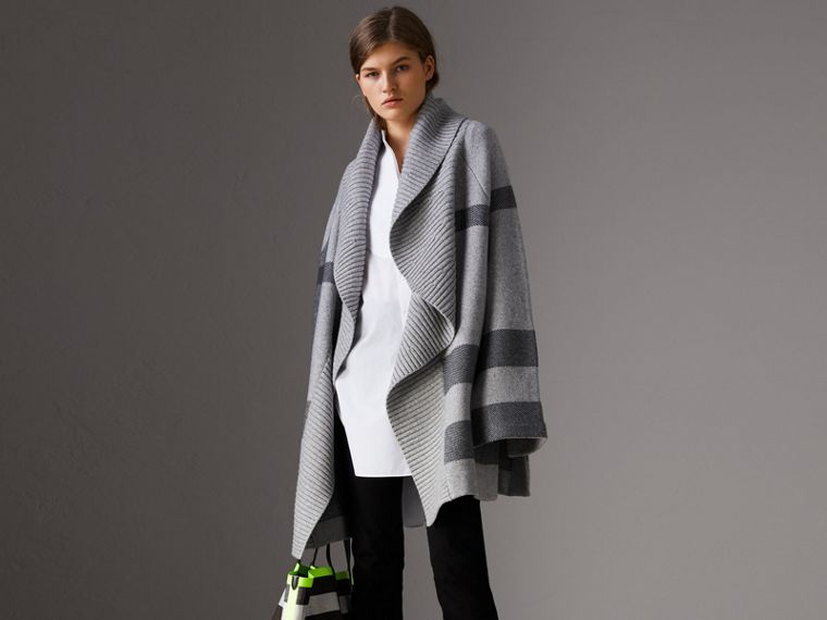 Check Wool Cashmere Blend Cardigan Coat in Pale Grey Melange - Women | Burberry - cell image 4