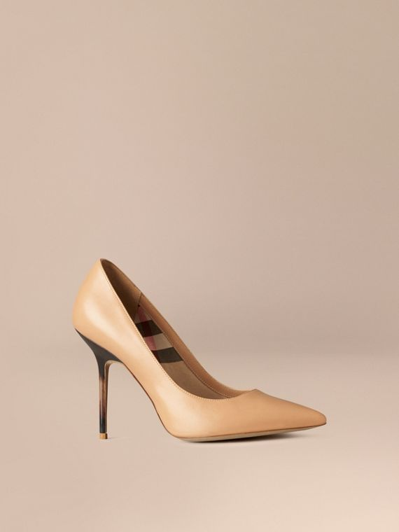 Hand-Painted Point-Toe Leather Pumps Camel