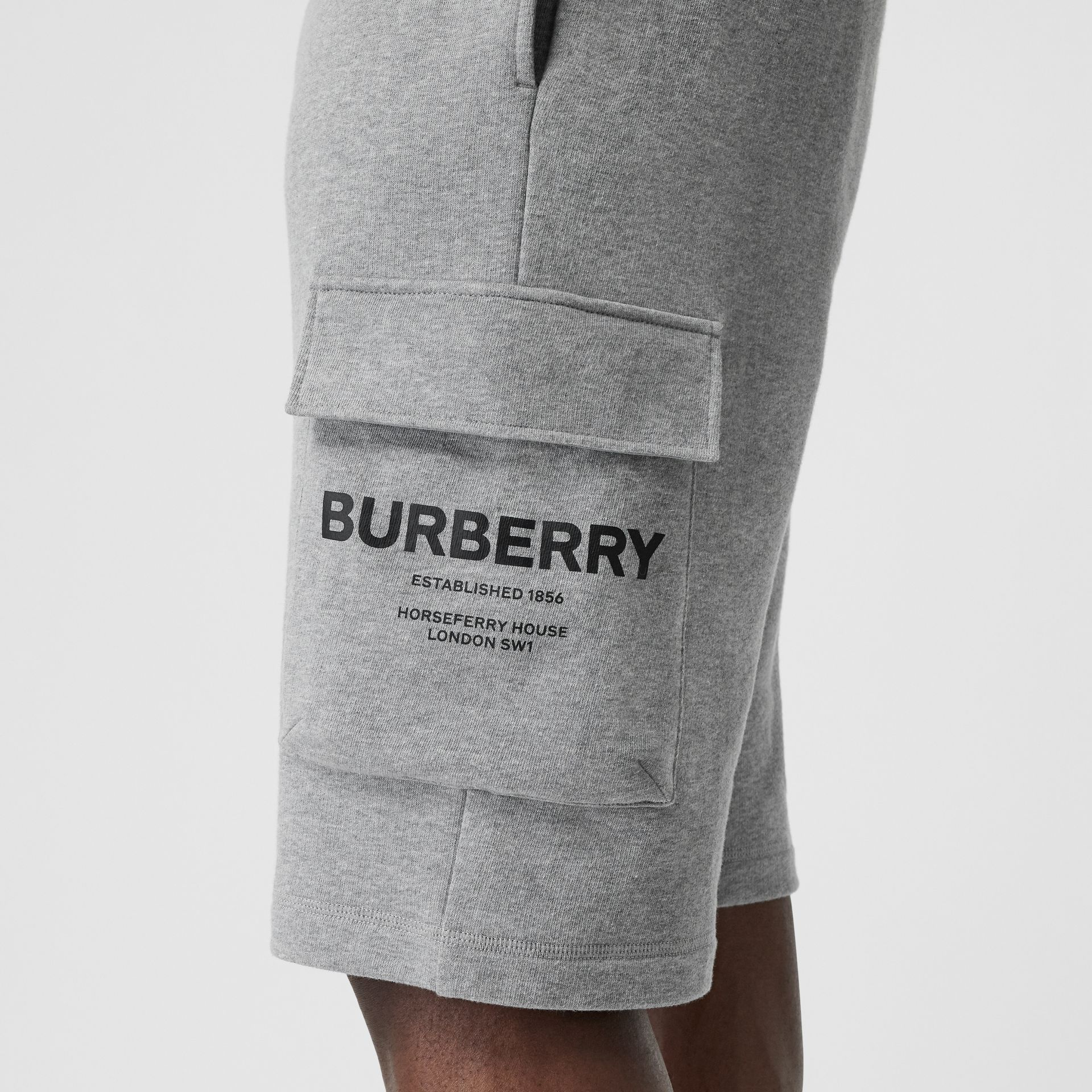 Horseferry Print Cotton Drawcord Shorts in Pale Grey Melange - Men | Burberry United Kingdom - gallery image 1