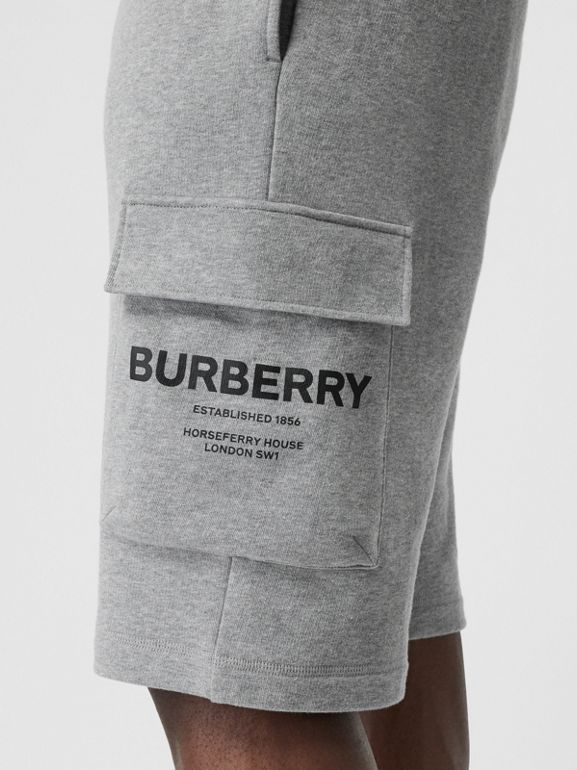 Horseferry Print Cotton Drawcord Shorts in Pale Grey Melange - Men | Burberry Singapore - cell image 1