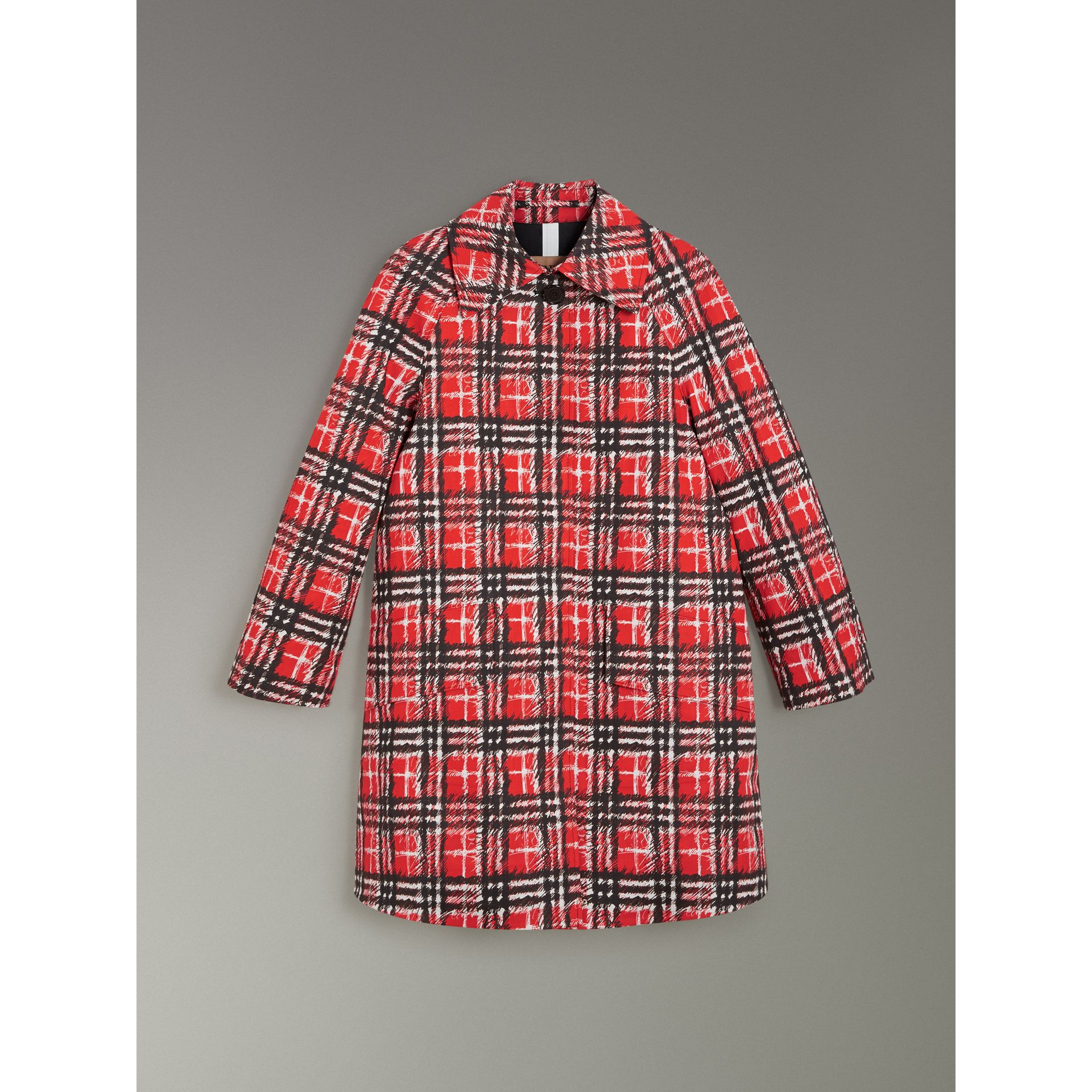 Scribble Check Bonded Cotton Car Coat in Bright Military Red - Women | Burberry Singapore - gallery image 3