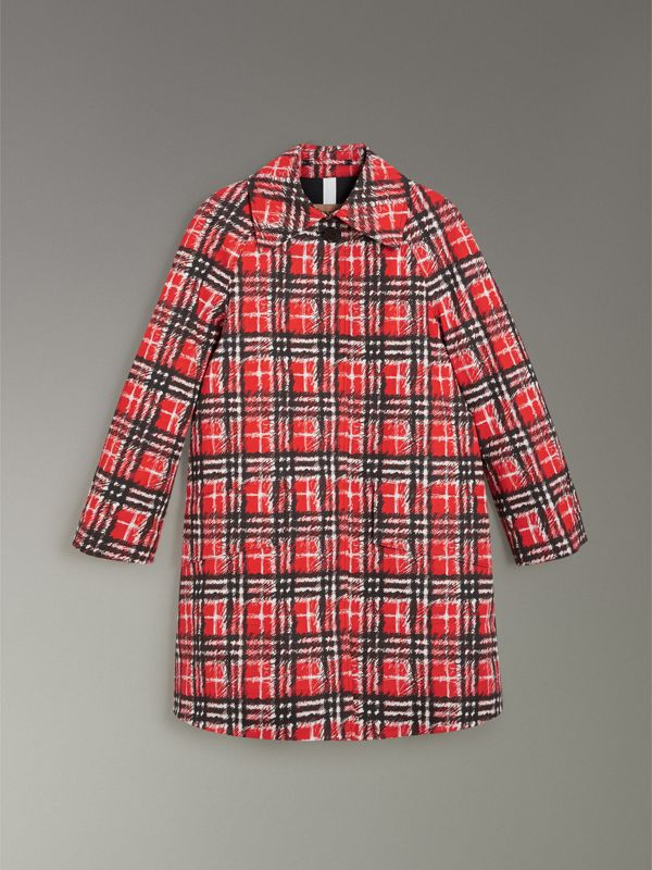 Scribble Check Bonded Cotton Car Coat in Bright Military Red - Women | Burberry United Kingdom - cell image 3