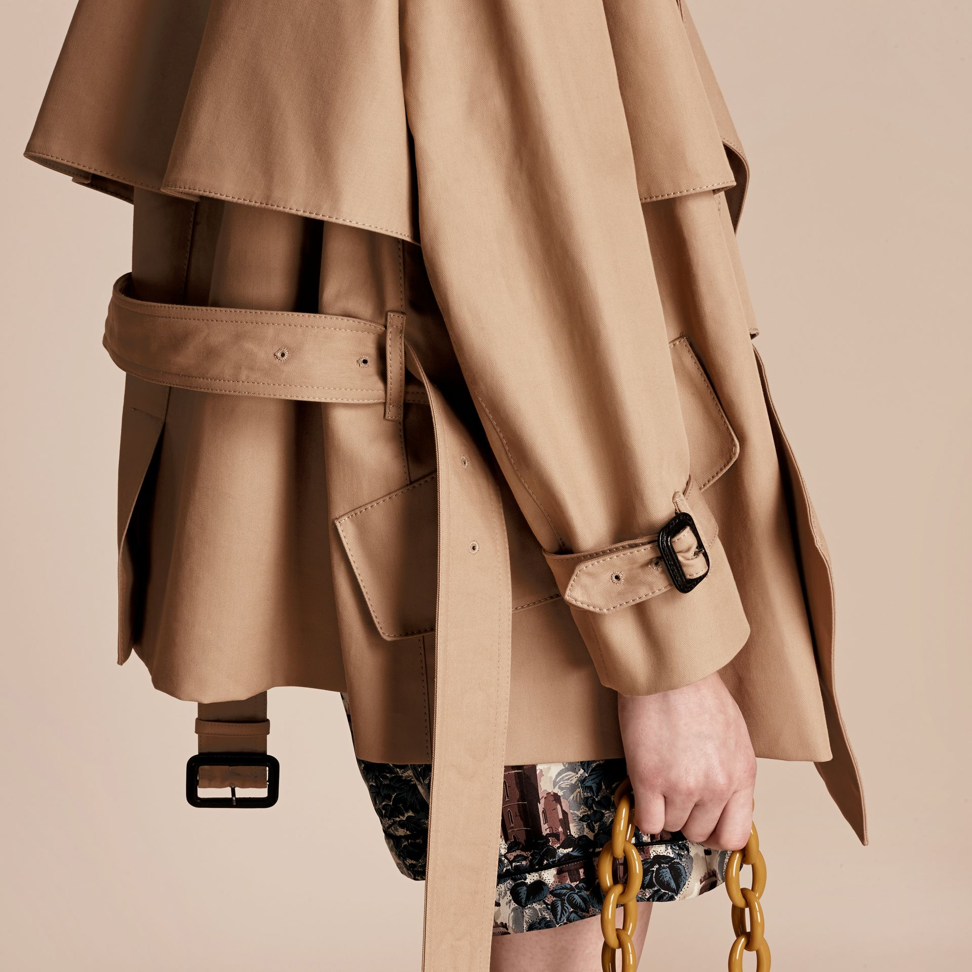 Honey Cotton Gabardine Deconstructed Cropped Trench Coat - gallery image 6