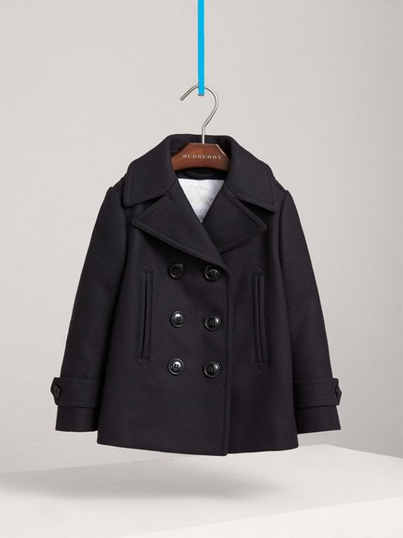 Wool Cashmere Blend Pea Coat with Down-filled Gilet in Navy - Girl | Burberry - cell image 2