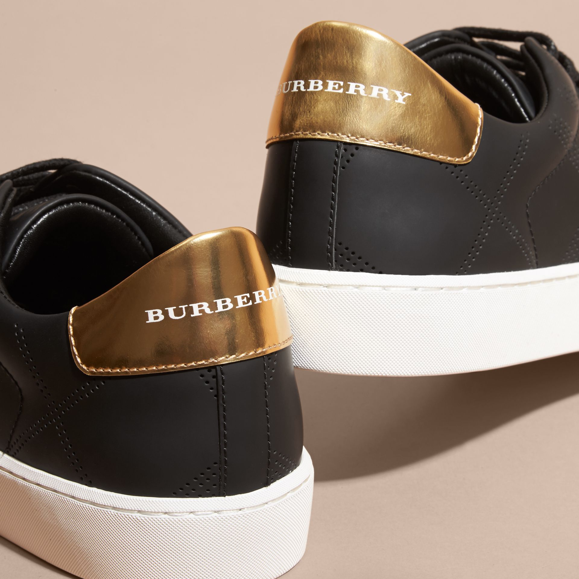 Perforated Check Leather Trainers - gallery image 5