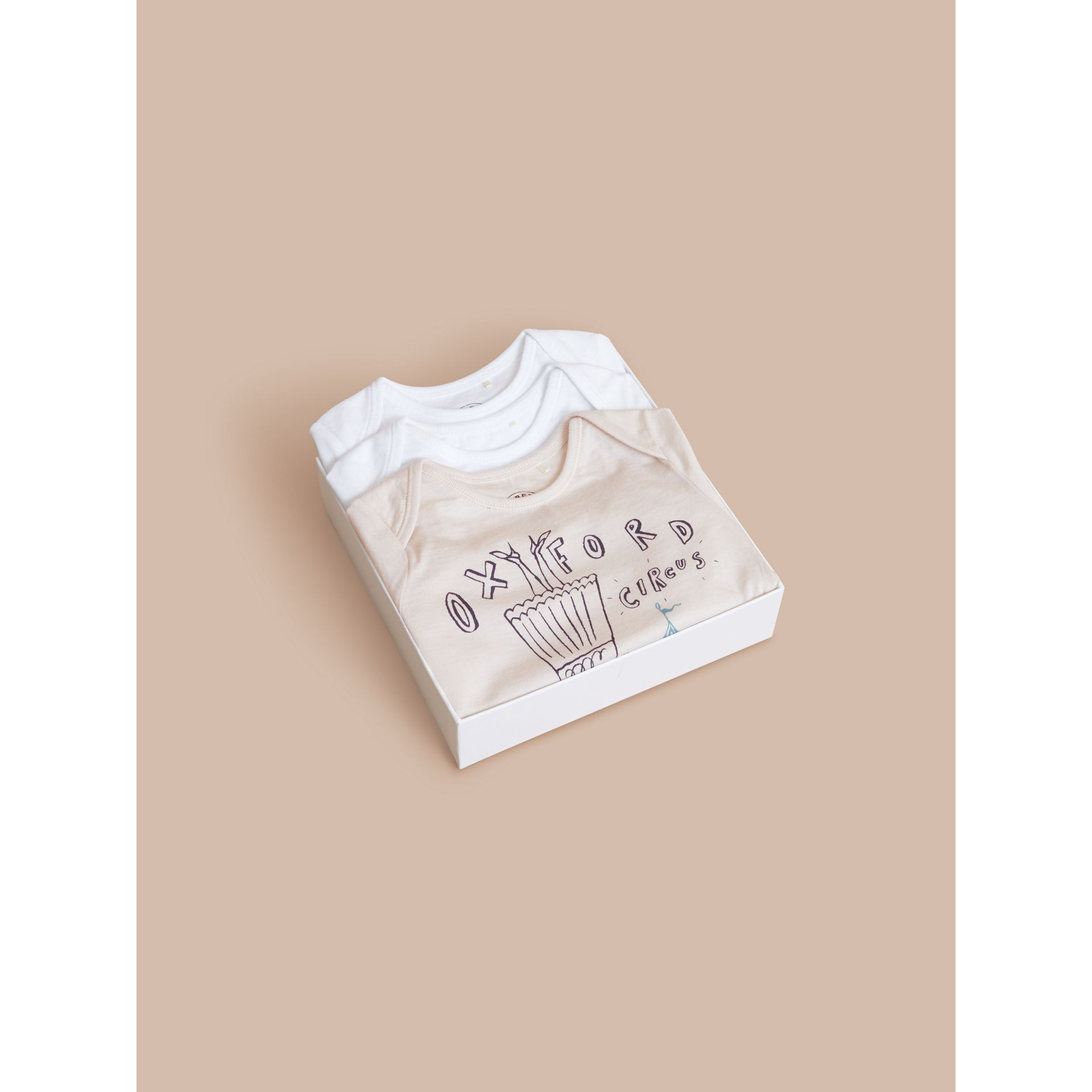Printed Cotton Three-piece Baby Gift Set in White | Burberry - gallery image 4