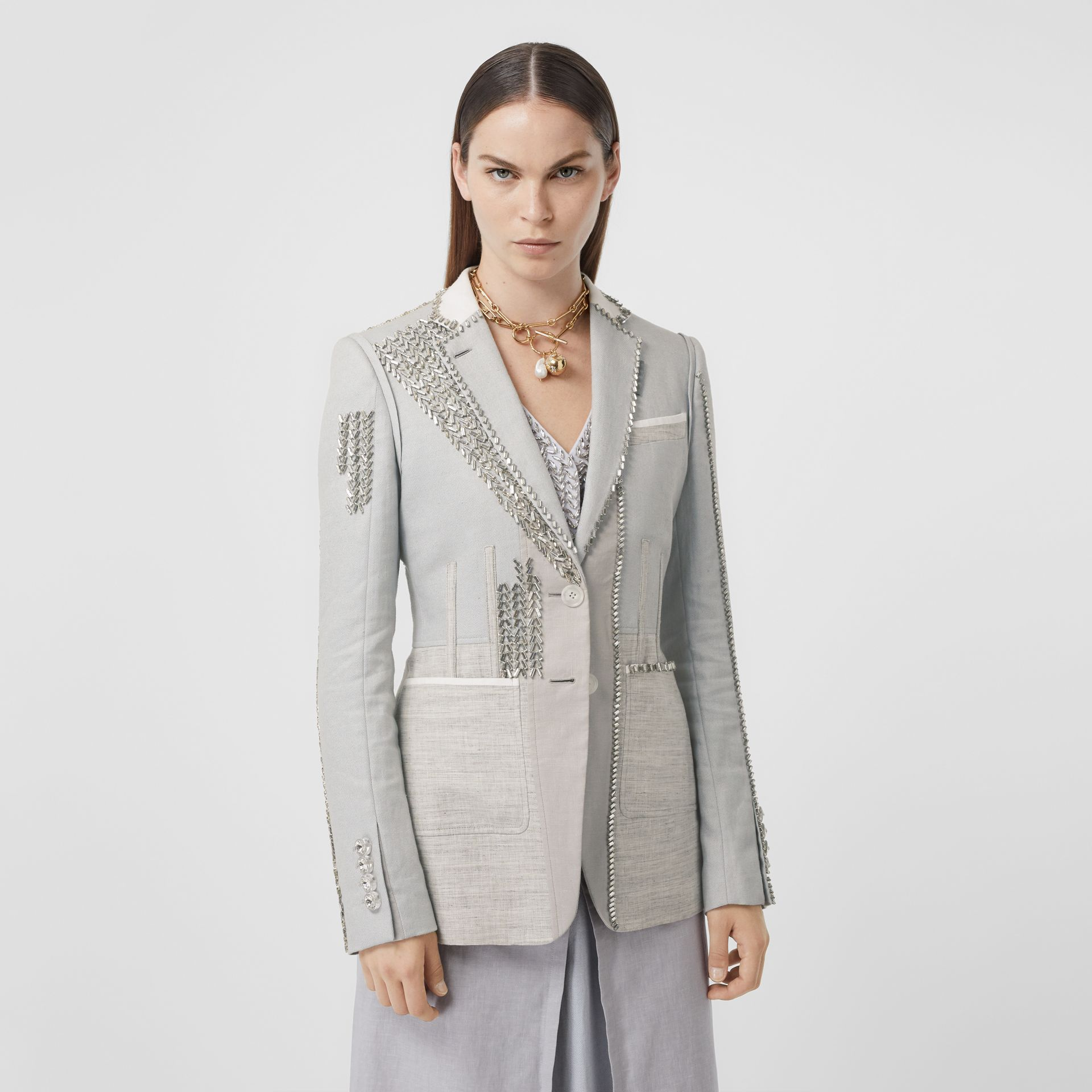 Crystal Embroidered Technical Linen Blazer in Grey Melange - Women | Burberry - gallery image 6