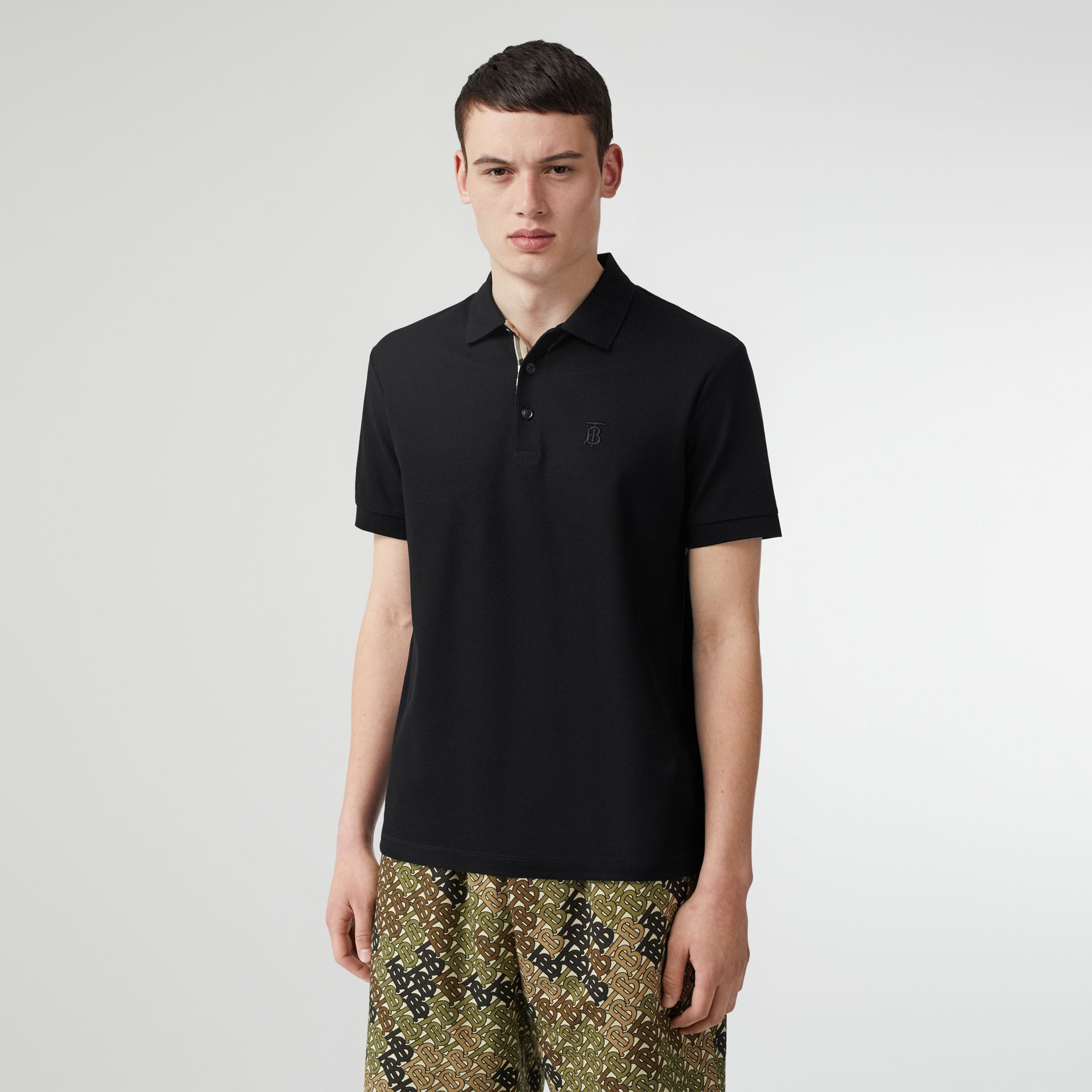 Monogram Motif Cotton Piqué Polo Shirt in Black - Men | Burberry Singapore - gallery image 4