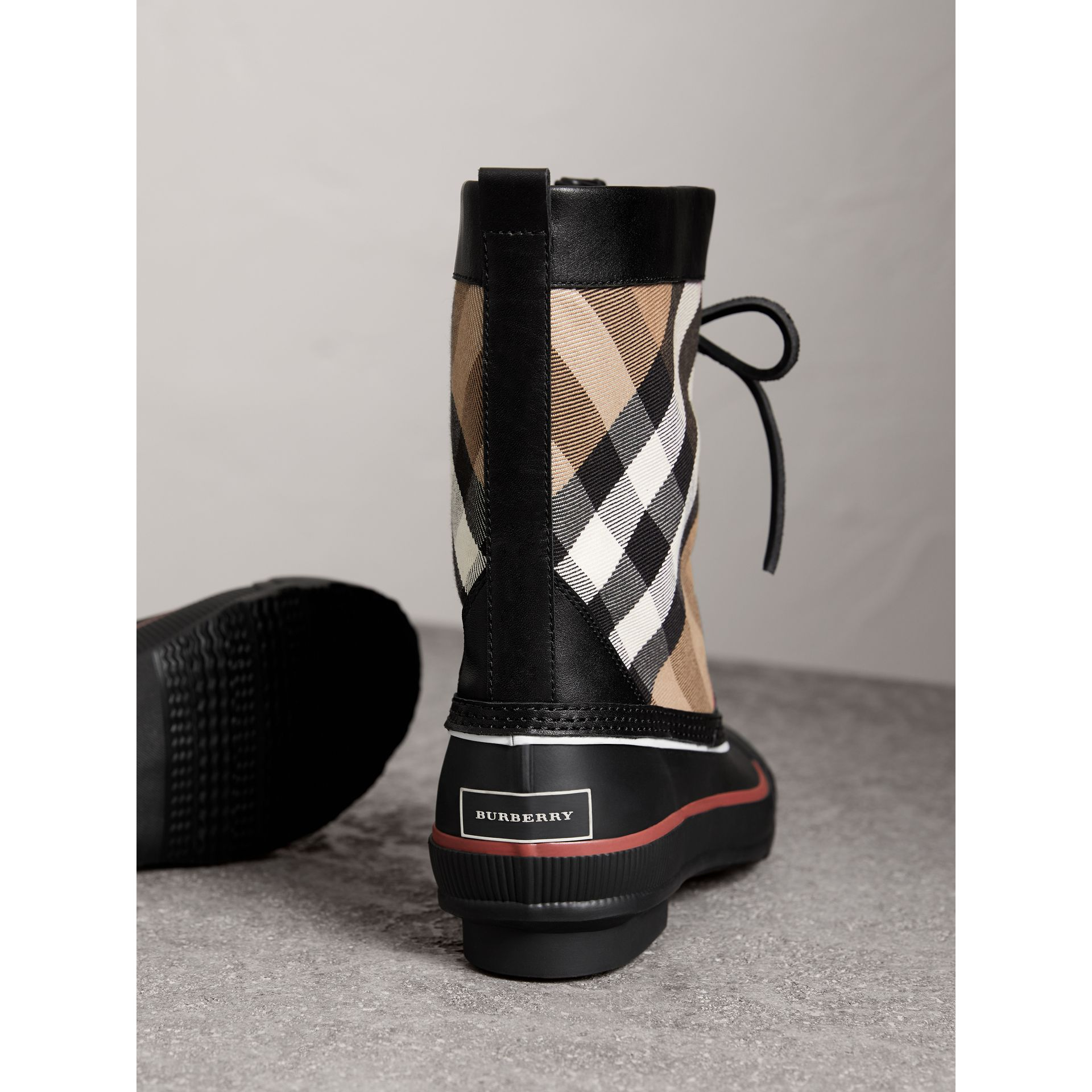Lace-up House Check and Rubber Rain Boots in Classic Check/black - Women | Burberry - gallery image 3