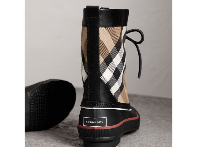 Lace-up House Check and Rubber Rain Boots in Classic Check/black - Women | Burberry - cell image 4