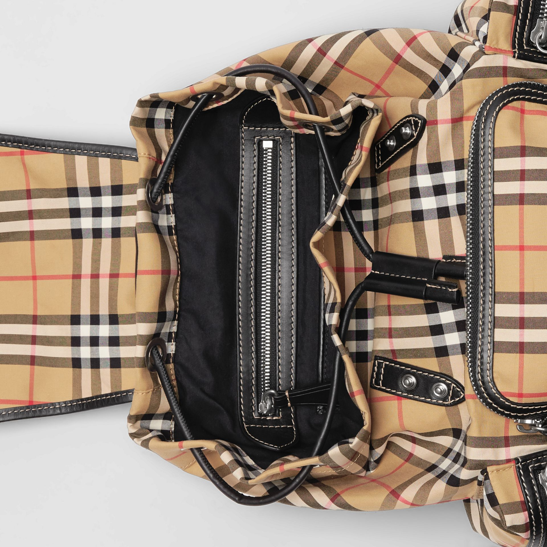 The Medium Rucksack in Vintage Check Cotton Canvas in Antique Yellow - Women | Burberry - gallery image 3