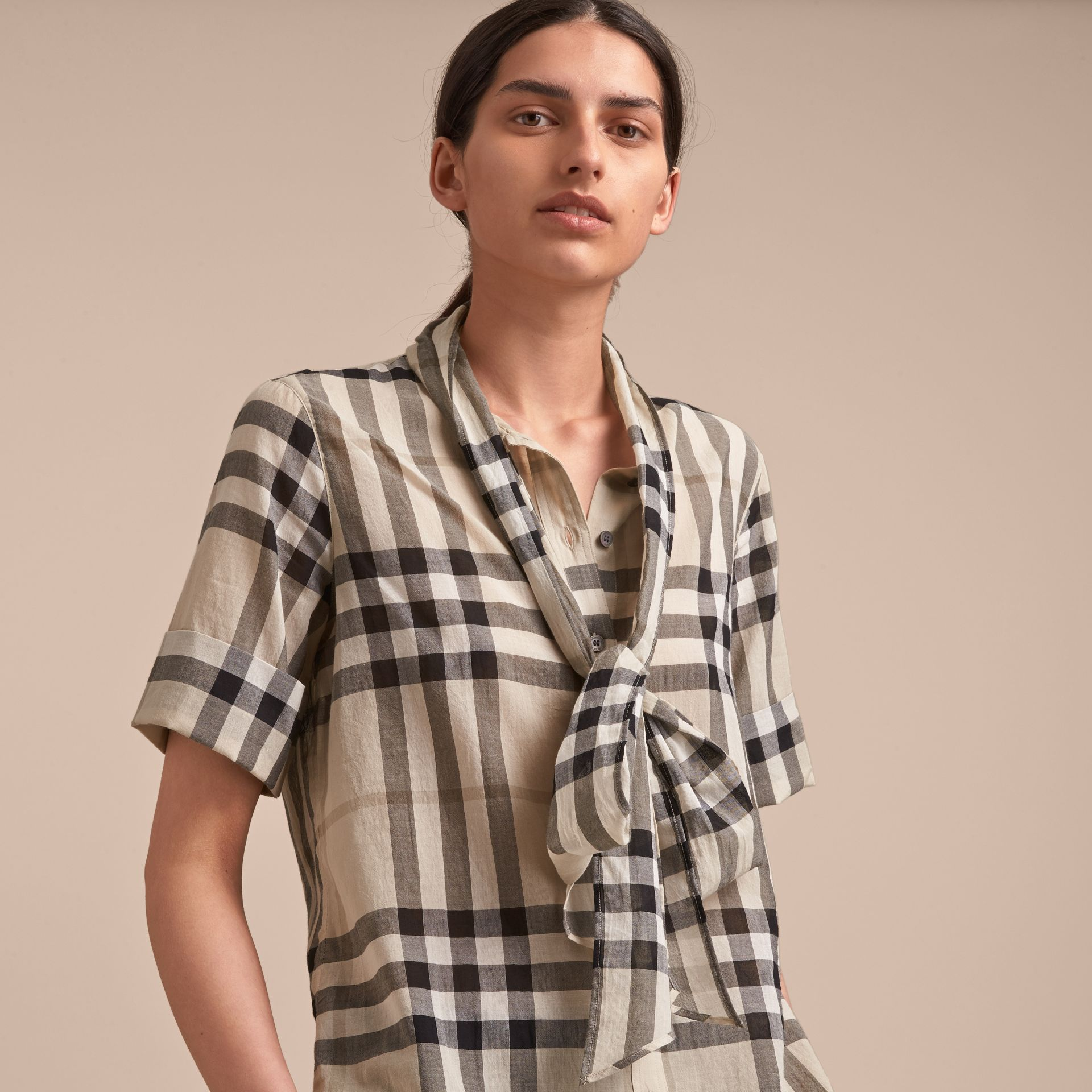 Short-sleeve Check Cotton Tie Neck Shirt in Chino - Women | Burberry - gallery image 5