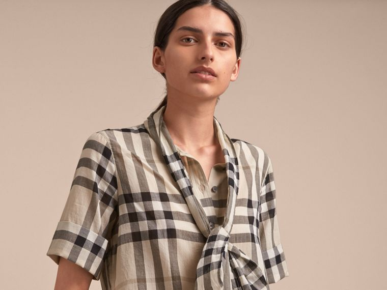 Short-sleeve Check Cotton Tie Neck Shirt in Chino - Women | Burberry - cell image 4