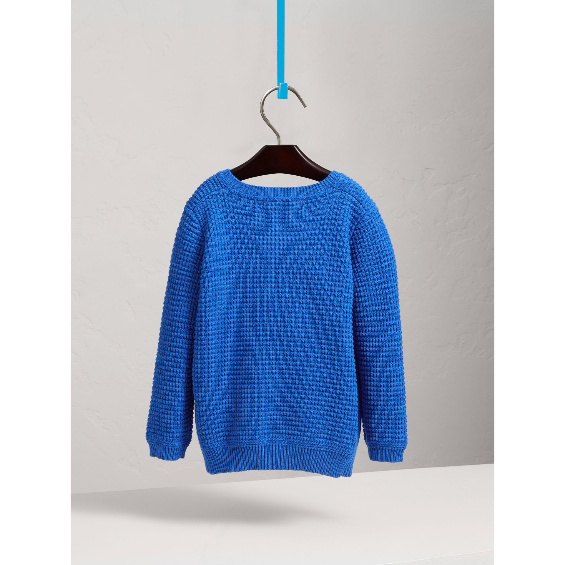 Waffle Knit Cotton Sweater in Cobalt Blue - Boy | Burberry - gallery image 3