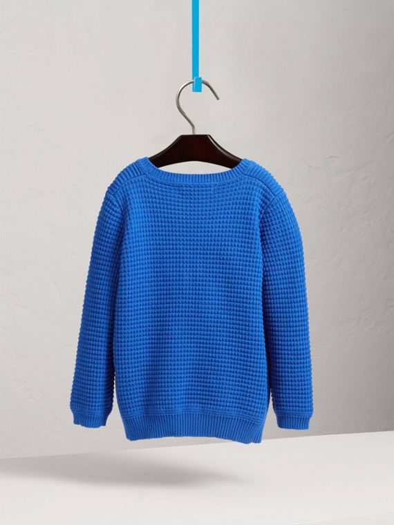 Waffle Knit Cotton Sweater in Cobalt Blue - Boy | Burberry - cell image 3