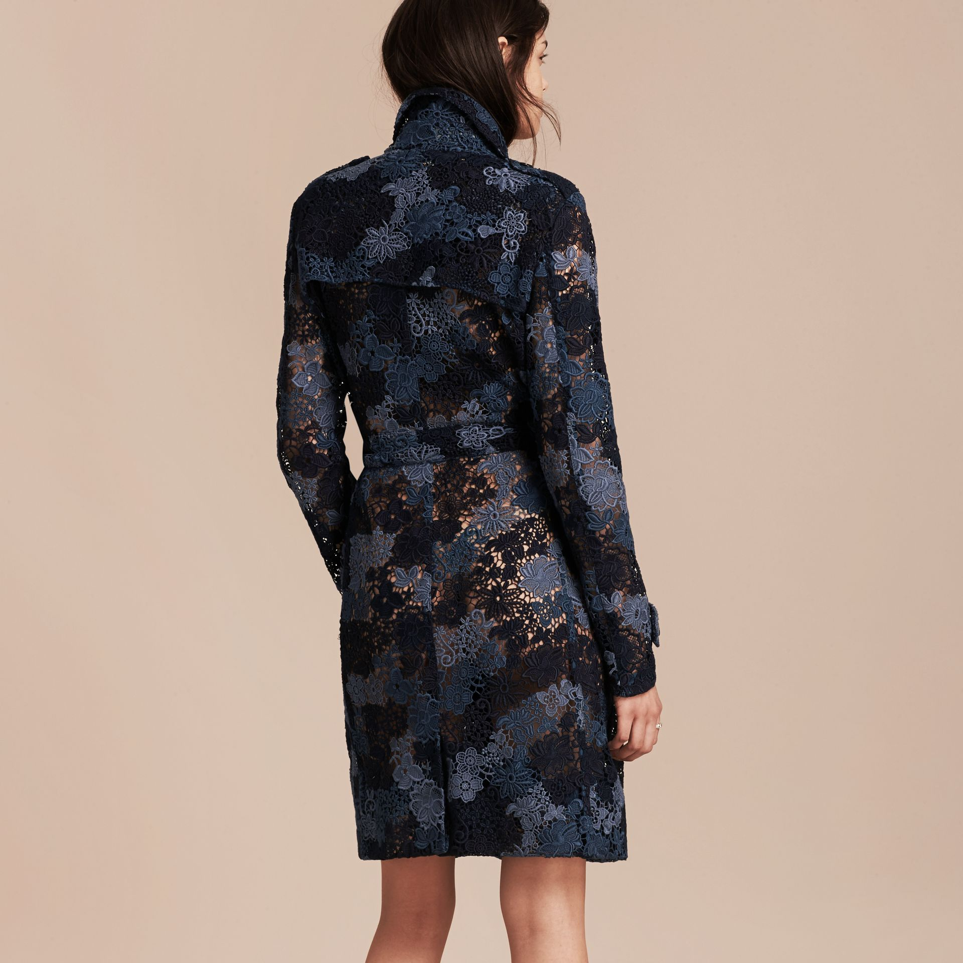 Ink blue Floral Italian Macramé Lace Trench Coat - gallery image 2