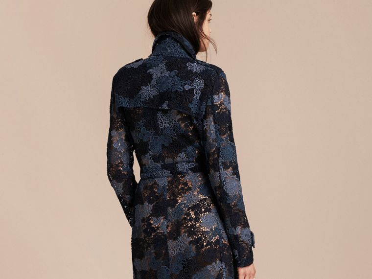 Ink blue Floral Italian Macramé Lace Trench Coat - cell image 1