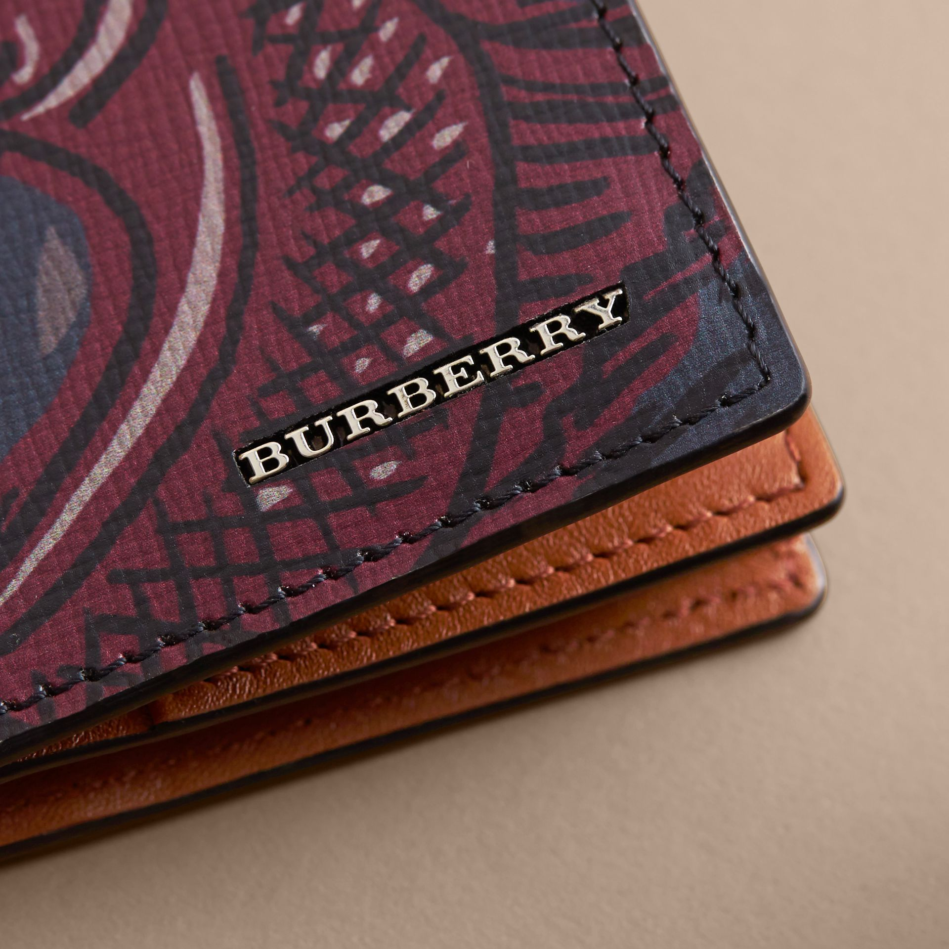 Beasts Print Leather Folding Card Case - Men | Burberry - gallery image 2