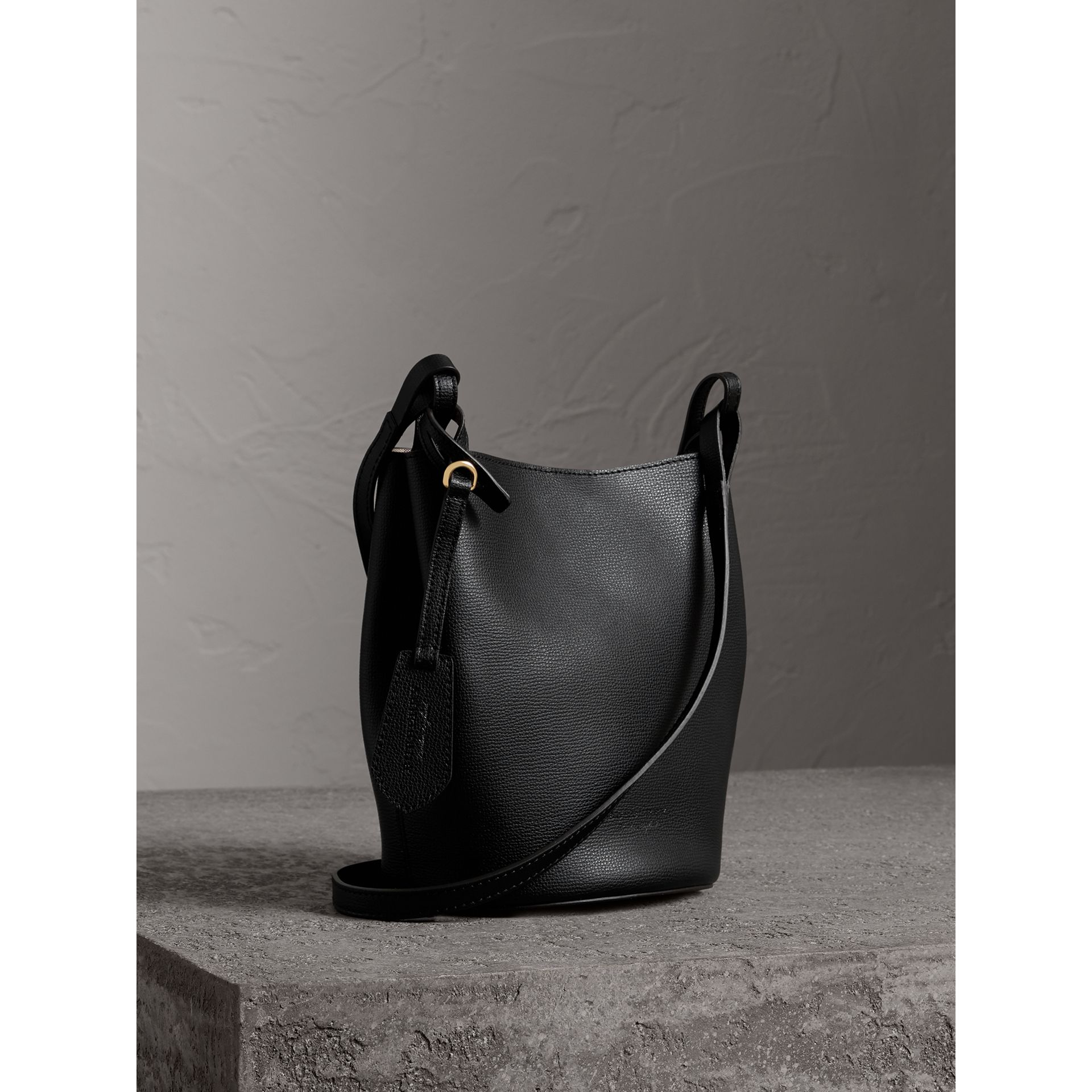 Leather and Haymarket Check Crossbody Bucket Bag in Black - Women | Burberry United Kingdom - gallery image 6