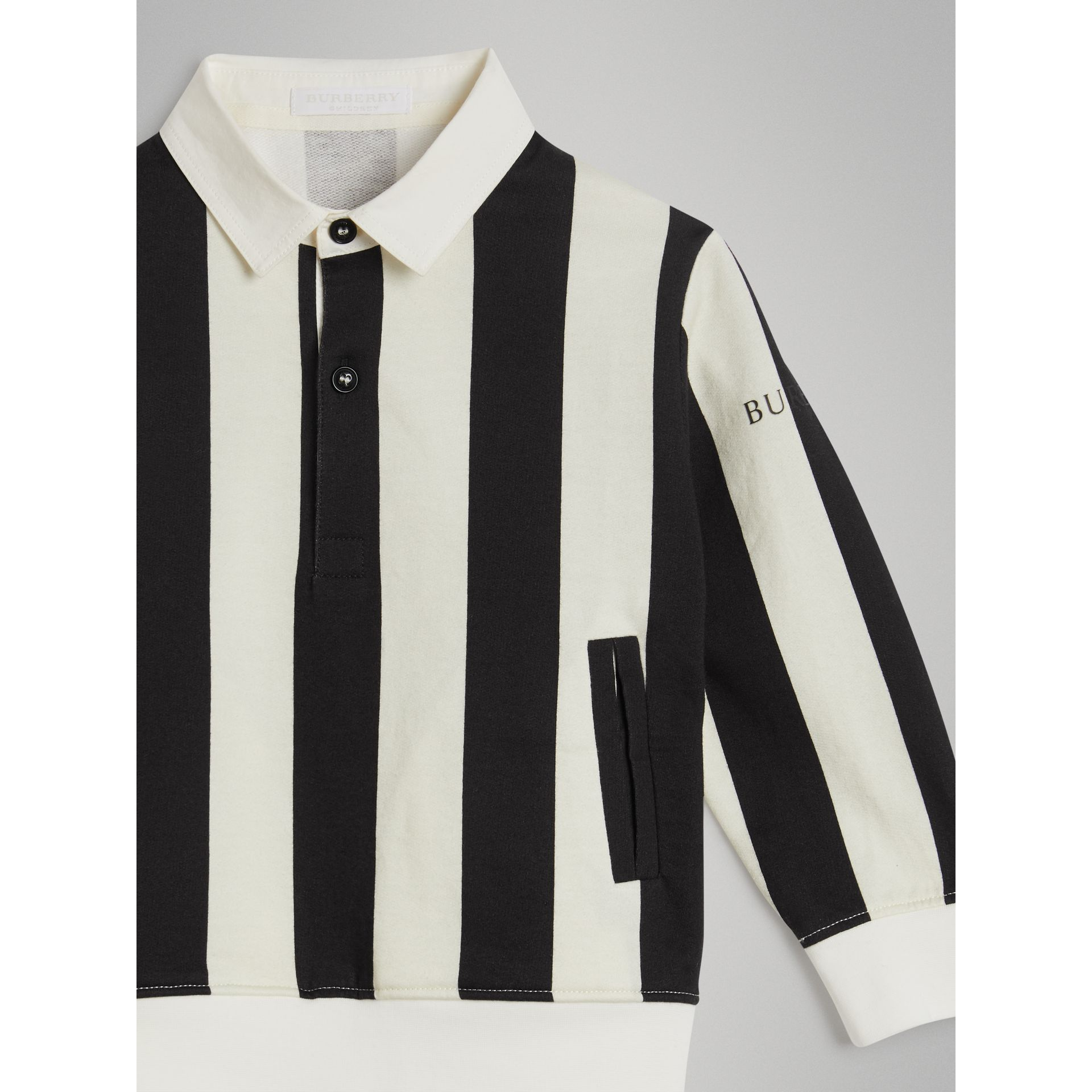 Striped Cotton Jersey Rugby Shirt in Black | Burberry Australia - gallery image 4