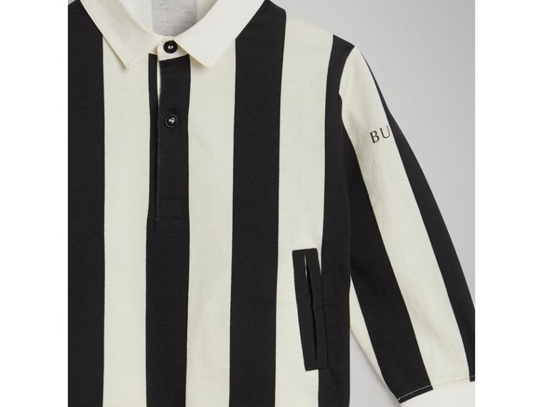 Striped Cotton Jersey Rugby Shirt in Black - Boy | Burberry - cell image 4