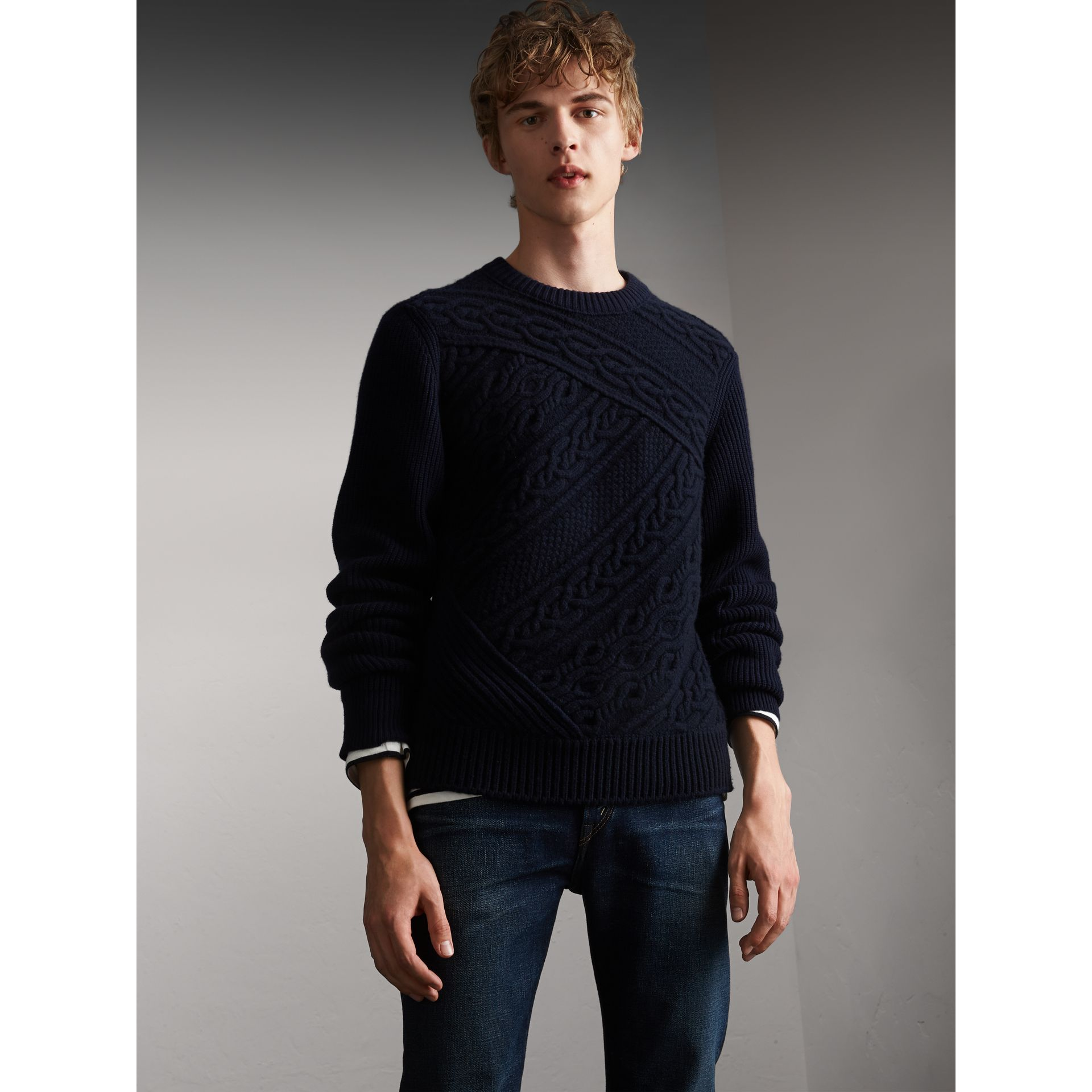 Cashmere Sweater with Cable Knit Detail in Navy - Men | Burberry - gallery image 0