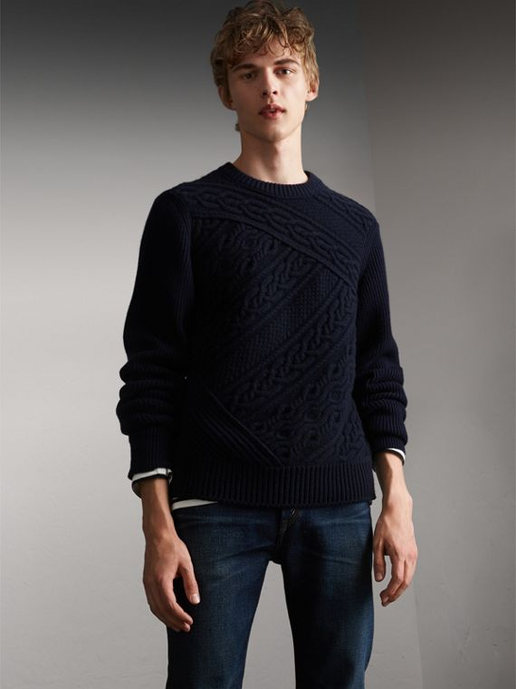 Cashmere Sweater with Cable Knit Detail - Men | Burberry