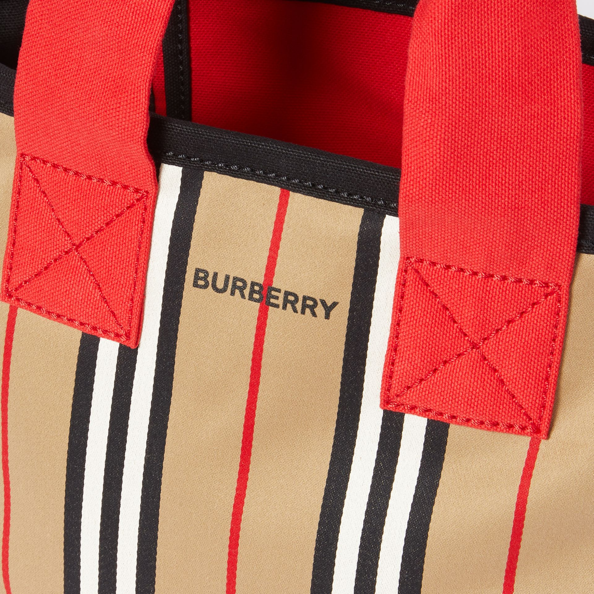 Icon Stripe Cotton Tote Bag in Honey - Children | Burberry United Kingdom - gallery image 1