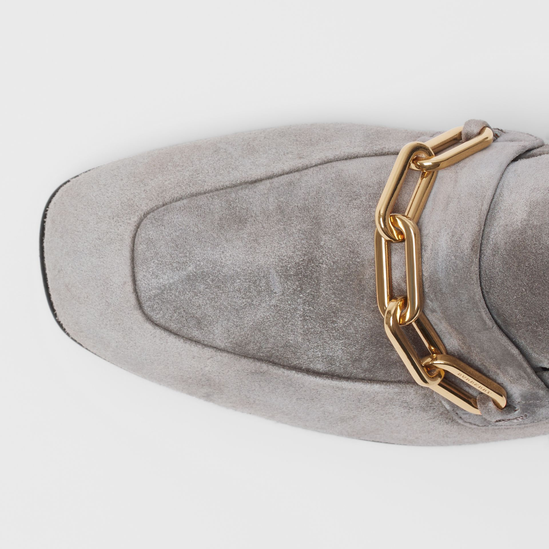 Link Detail Suede Loafers in Smokey Grey - Women | Burberry - gallery image 1