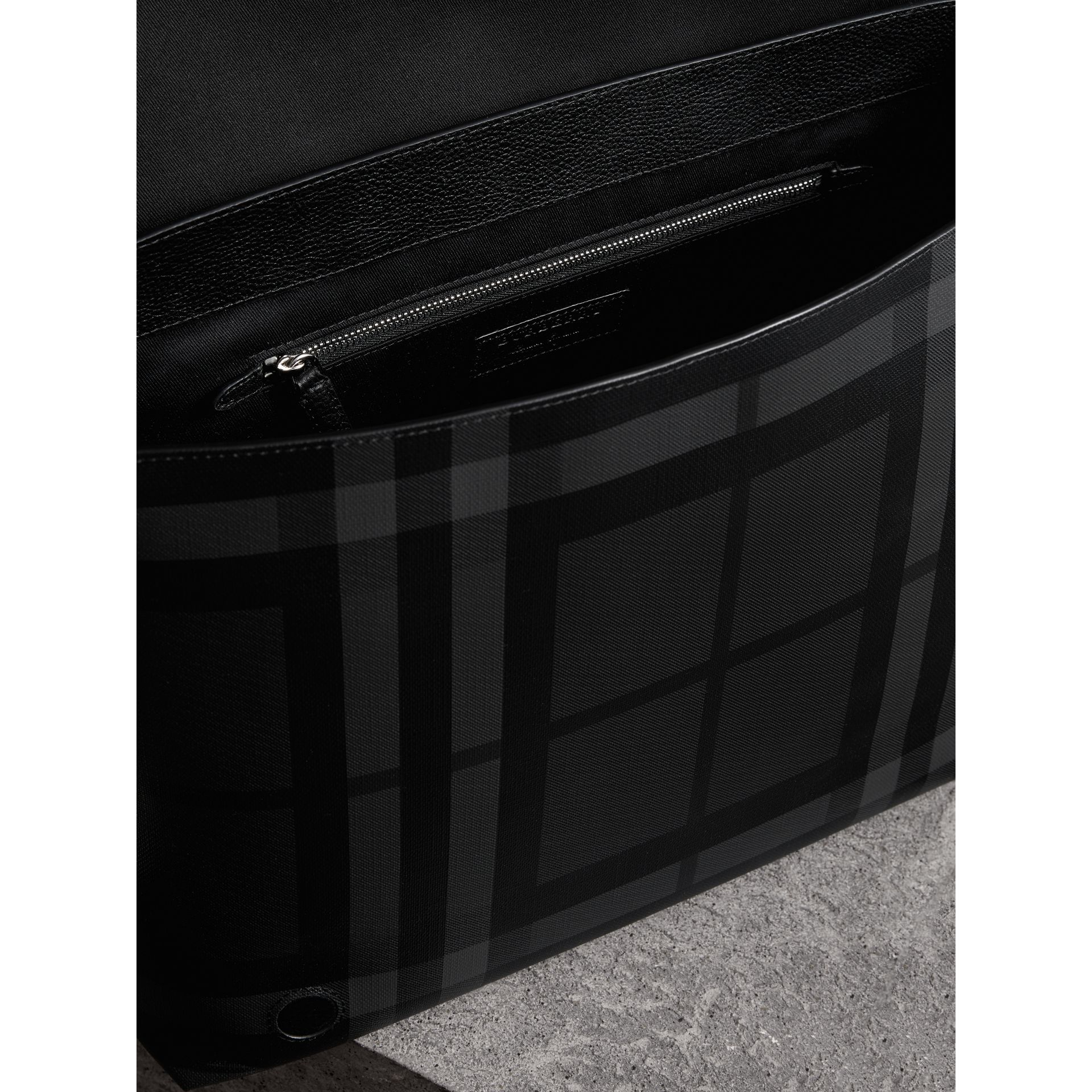 Large London Check Messenger Bag in Charcoal/black | Burberry Canada - gallery image 4