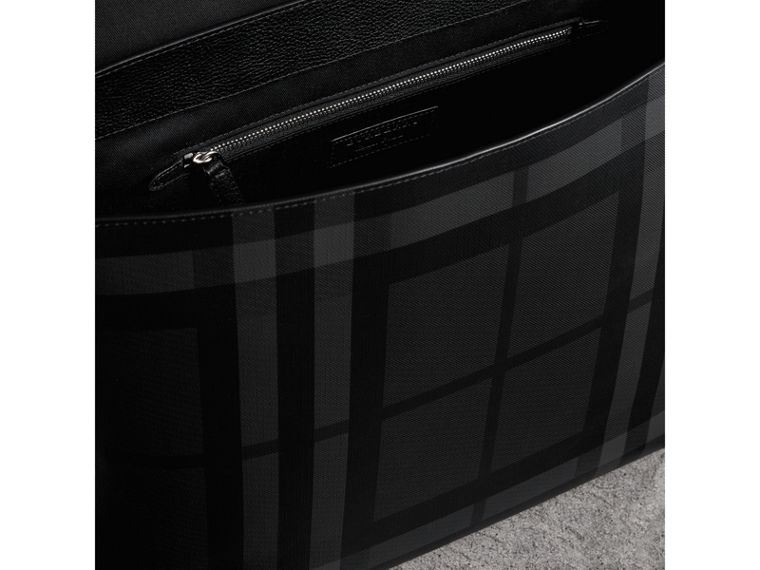 Large London Check Messenger Bag in Charcoal/black | Burberry - cell image 4