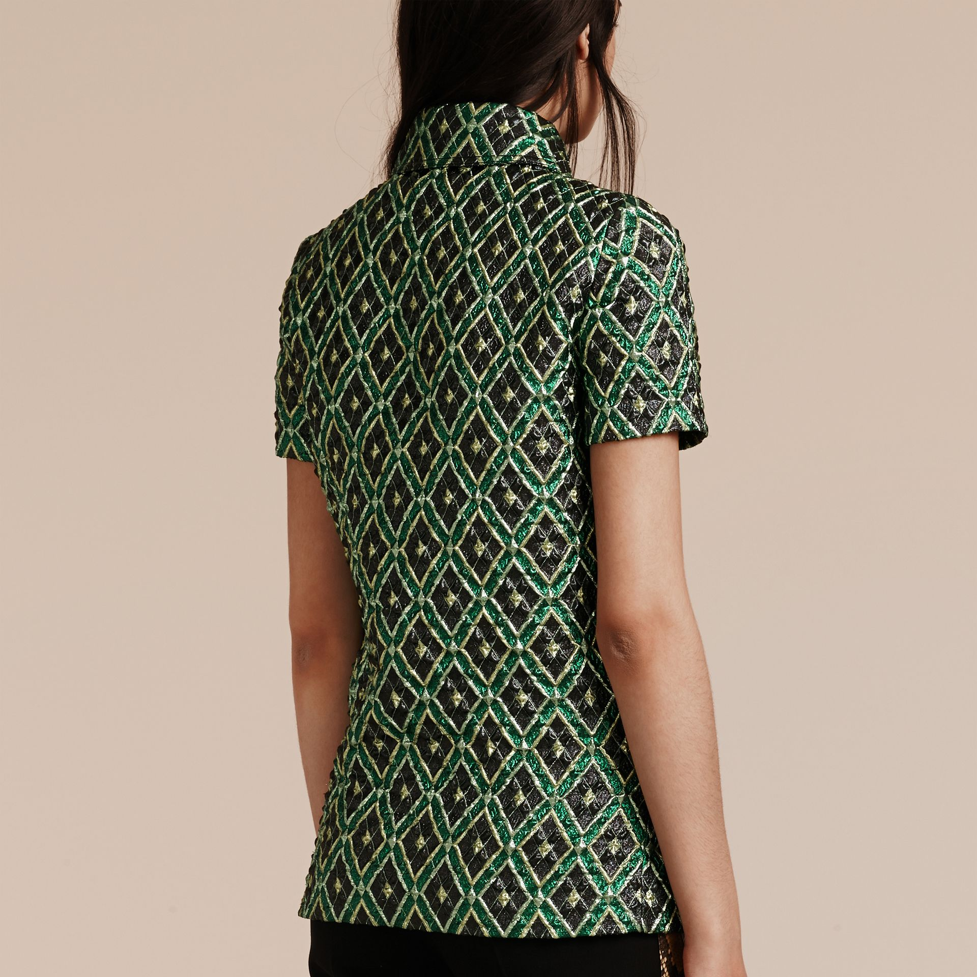 Deep green Short-sleeved Check Jacquard Shirt - gallery image 3