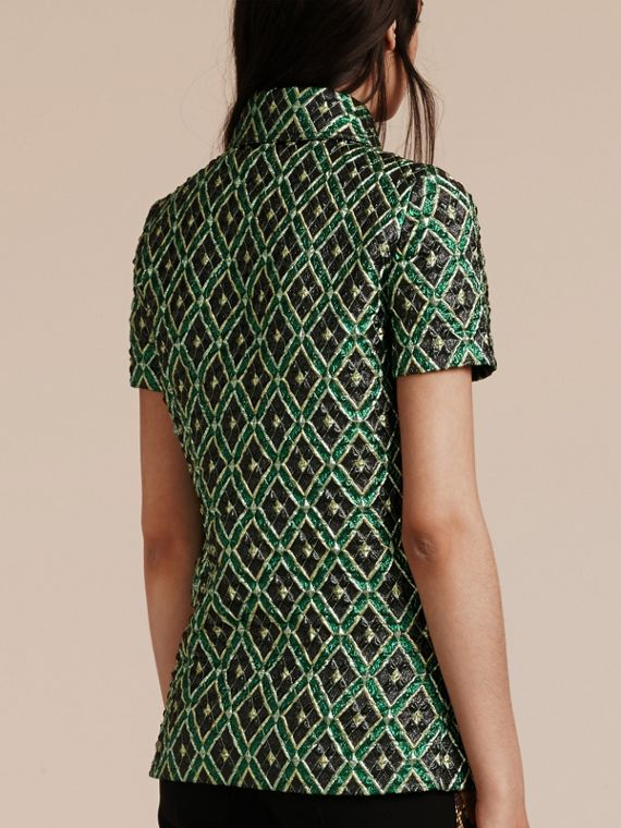 Deep green Short-sleeved Check Jacquard Shirt - cell image 2