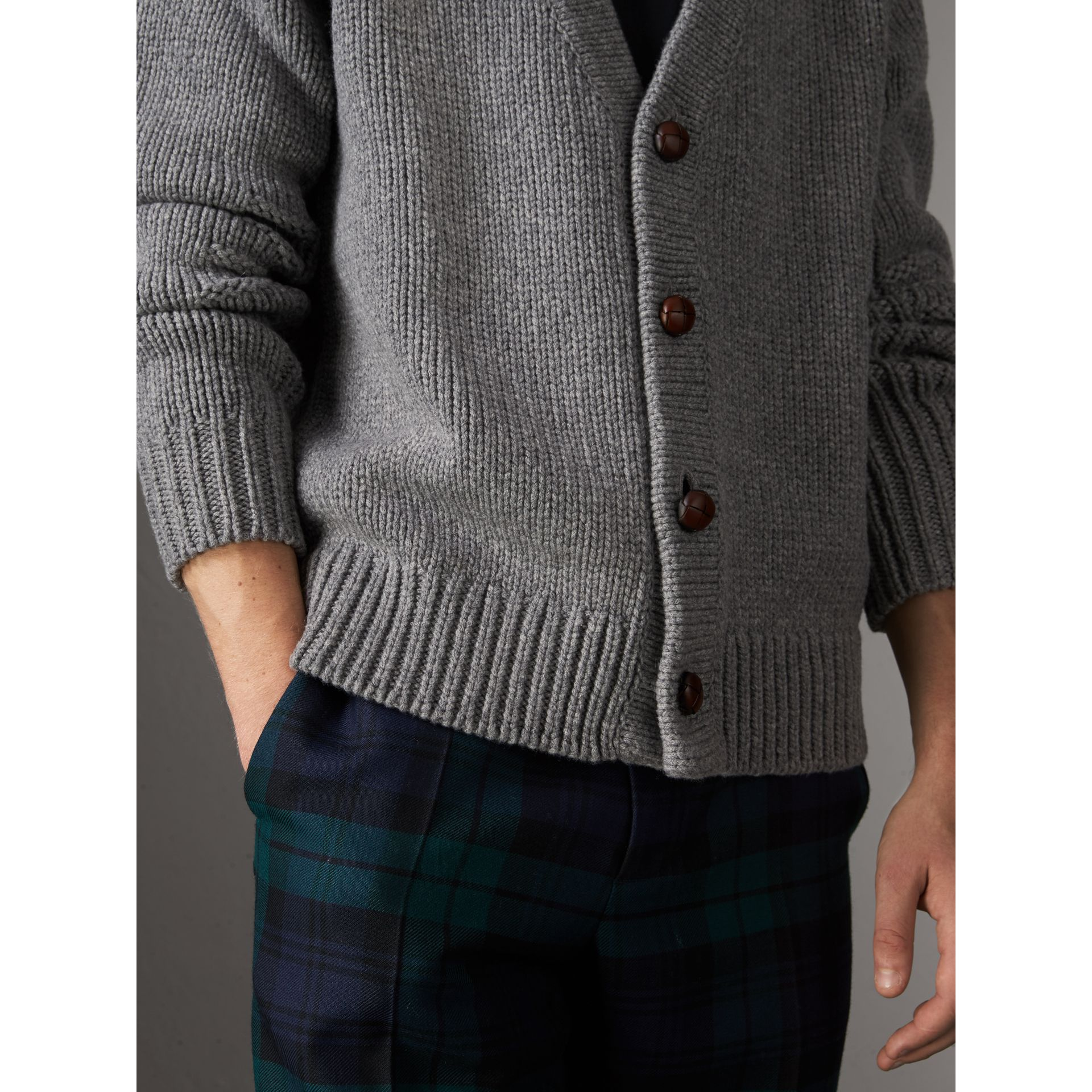 Chunky Knit Wool Cashmere Cardigan in Mid Grey Melange - Men | Burberry - gallery image 1