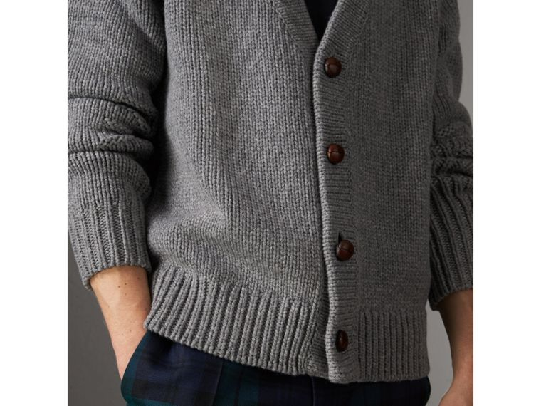 Chunky Knit Wool Cashmere Cardigan in Mid Grey Melange - Men | Burberry - cell image 1