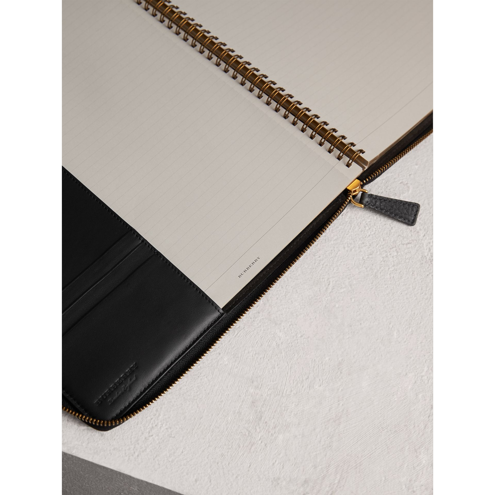 Embossed Grainy Leather Ziparound A4 Notebook Case in Black | Burberry Australia - gallery image 3