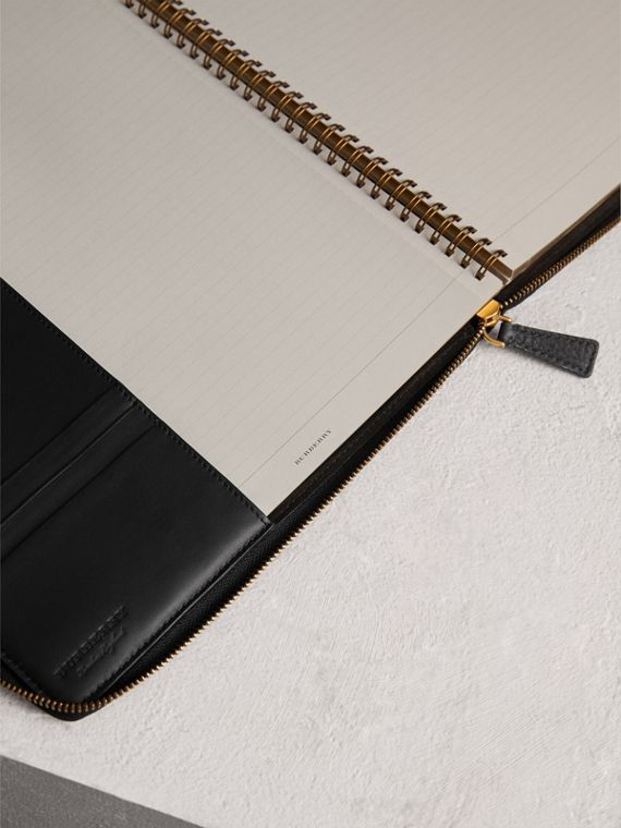 Embossed Grainy Leather Ziparound A4 Notebook Case in Black | Burberry - cell image 3