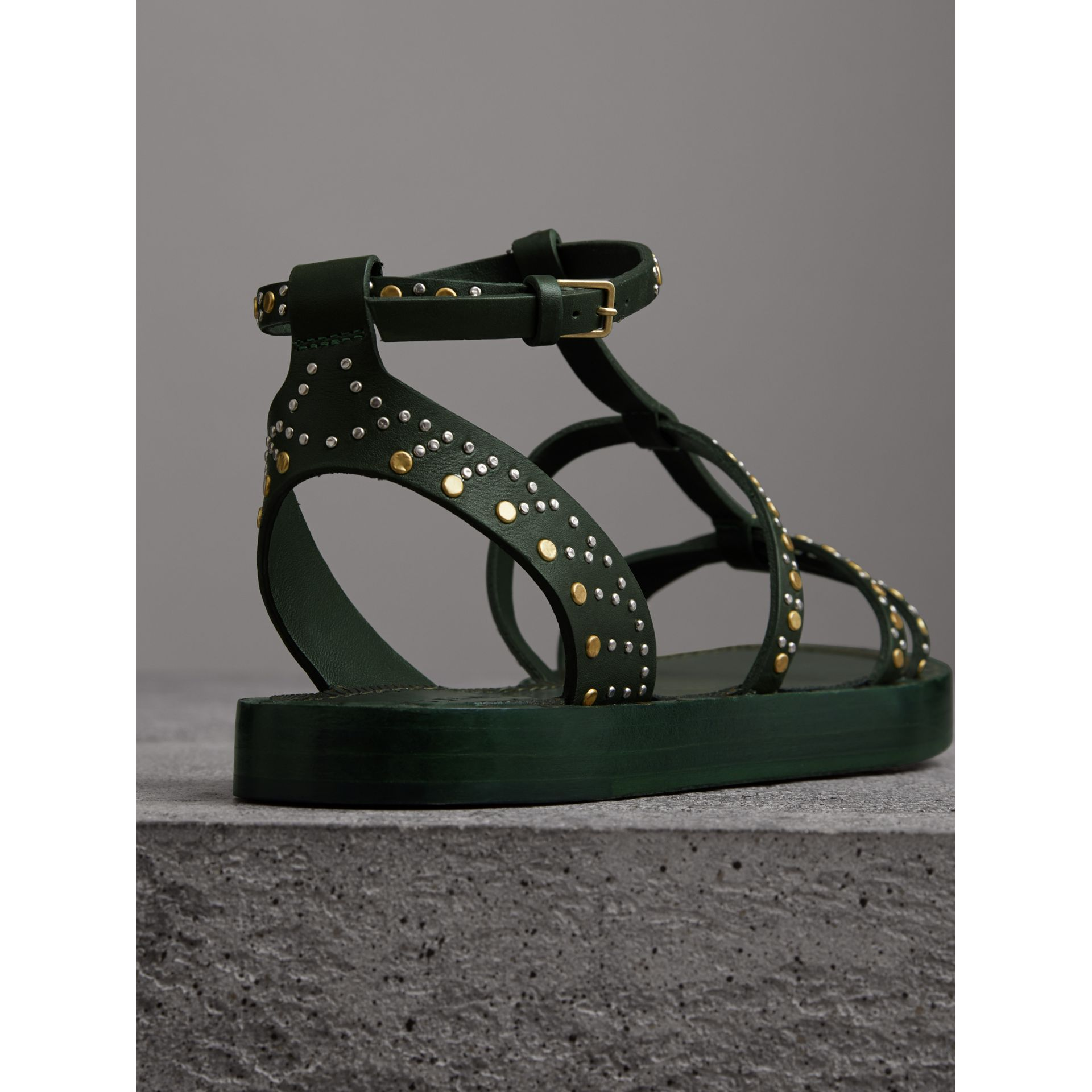 Riveted Leather Gladiator Sandals in Dark Green - Women | Burberry - gallery image 3