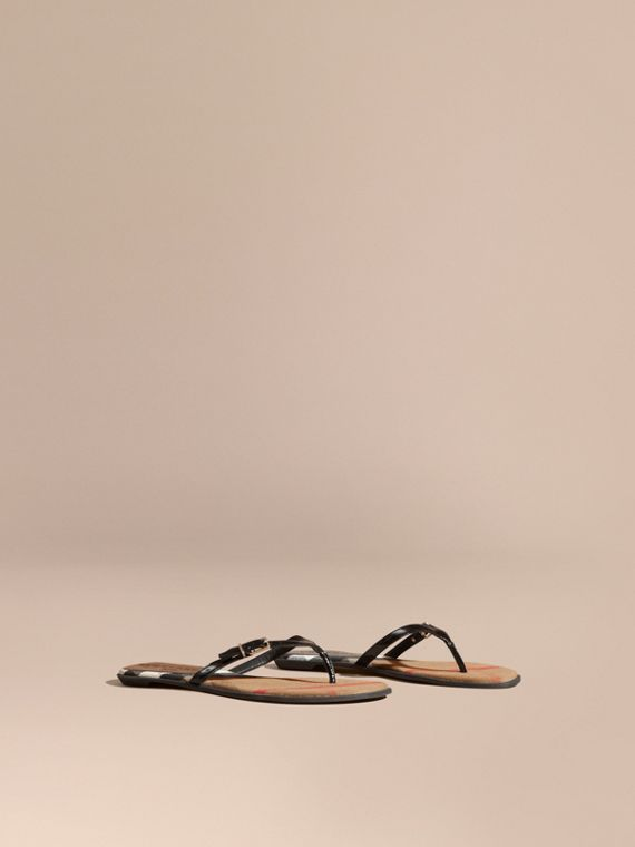 House Check and Patent Leather Sandals in Black