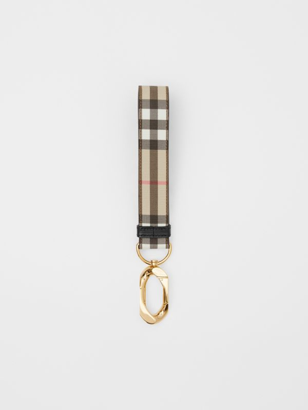 Leather Trim Vintage Check Charm in Archive Beige - Women | Burberry - cell image 2