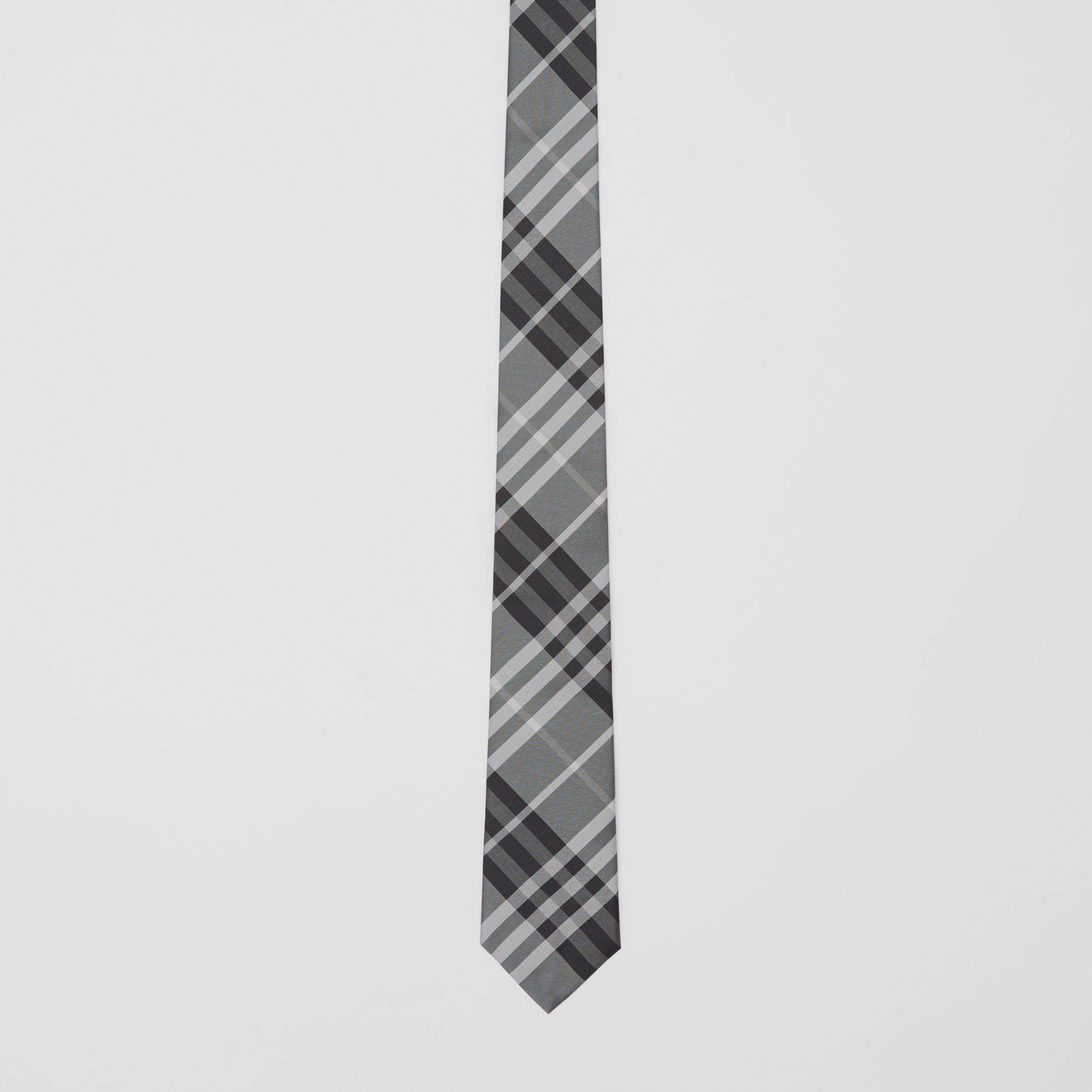 Classic Cut Vintage Check Silk Tie in Mineral Grey - Men | Burberry - 4