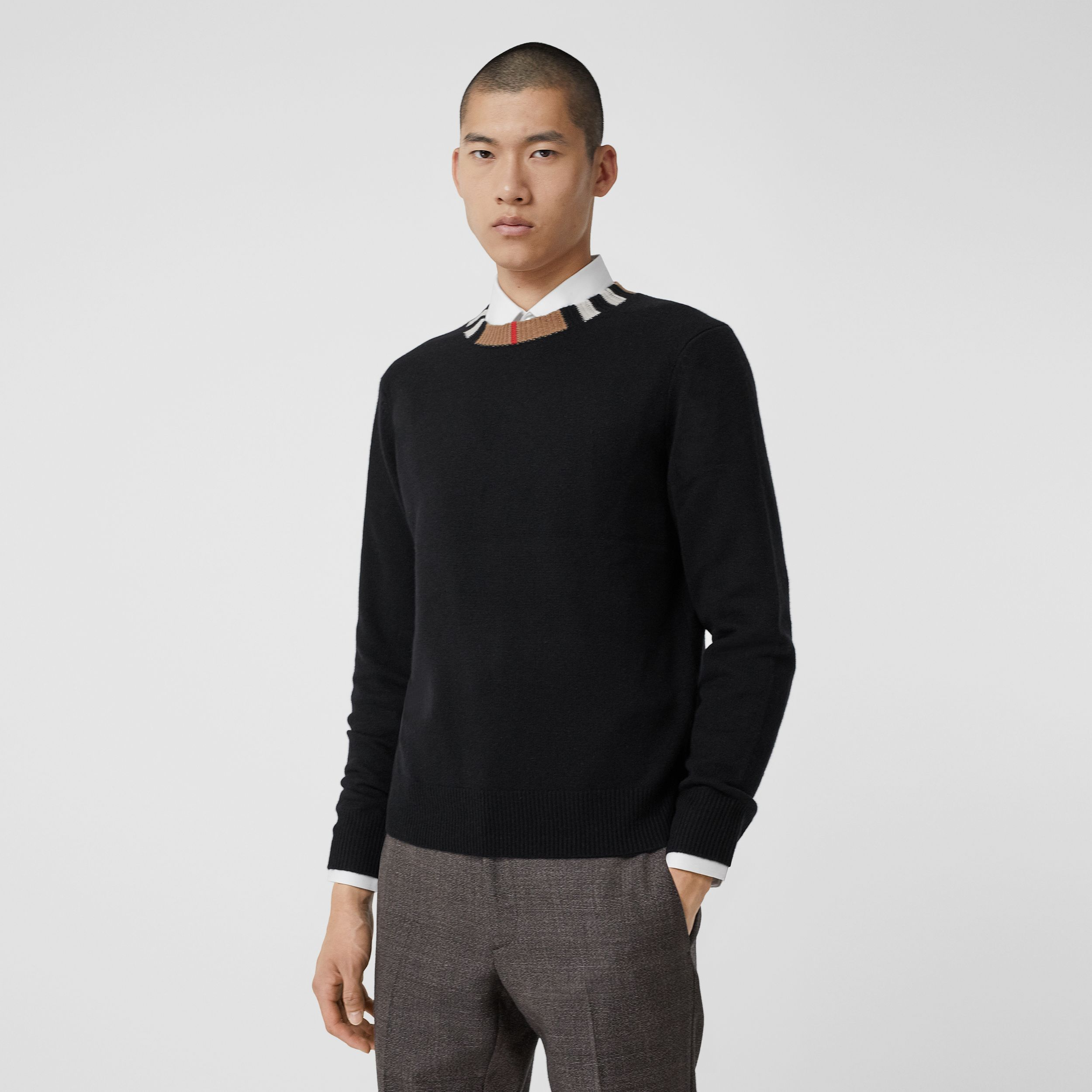 Icon Stripe Trim Cashmere Sweater in Black - Men | Burberry - 1