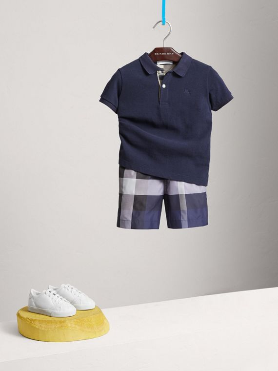 Check Placket Polo Shirt in True Navy - Boy | Burberry United Kingdom - cell image 2
