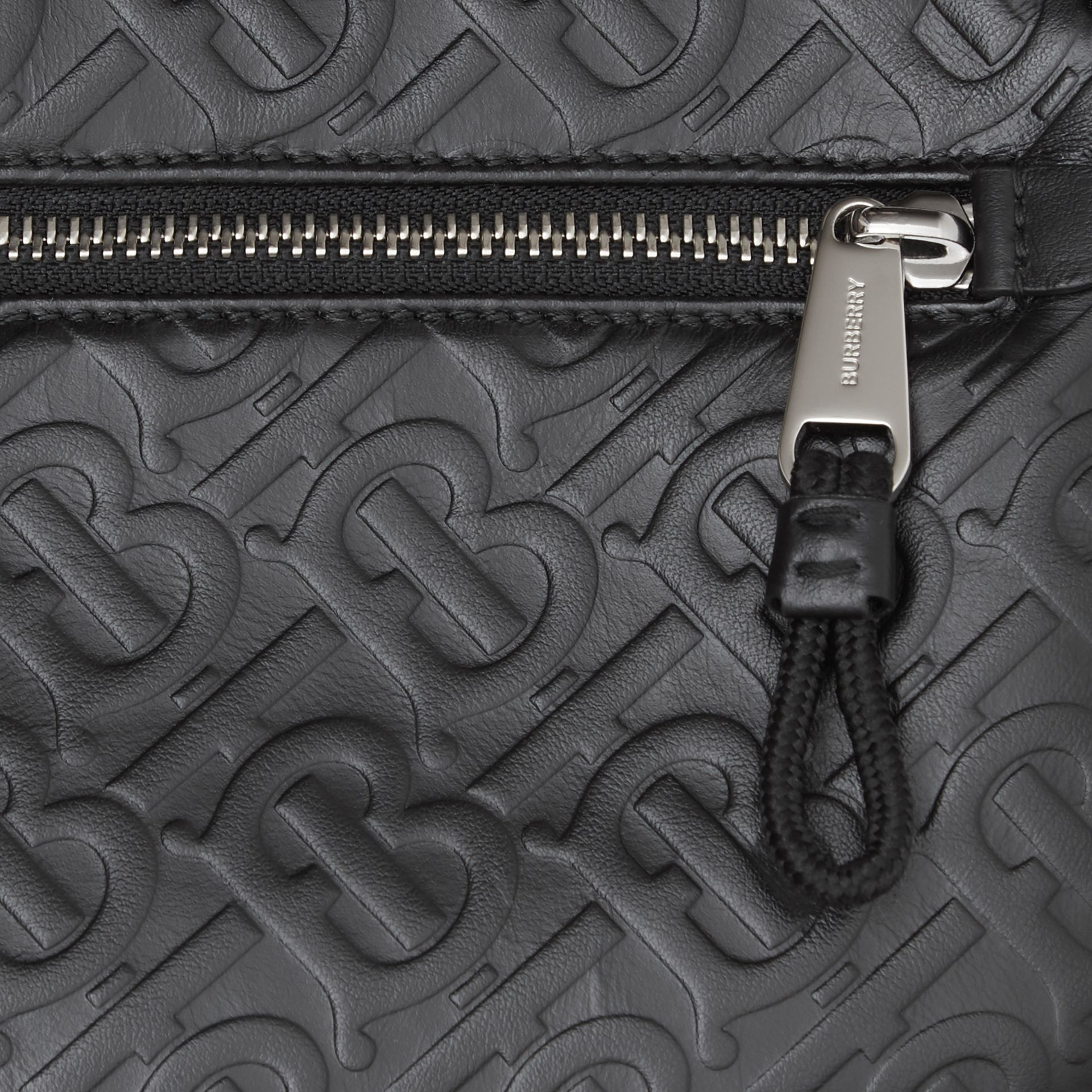 Monogram Leather Crossbody Bag in Black - Men | Burberry Australia - gallery image 1