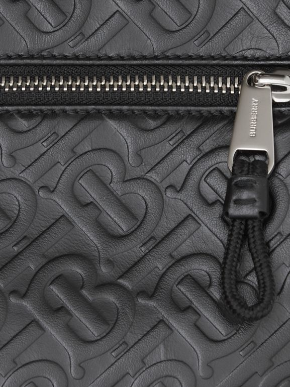 Monogram Leather Crossbody Bag in Black - Men | Burberry Australia - cell image 1