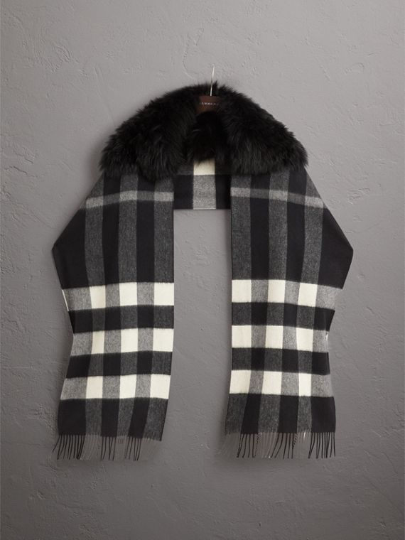Fox Fur Trim Check Cashmere Scarf in Black/black